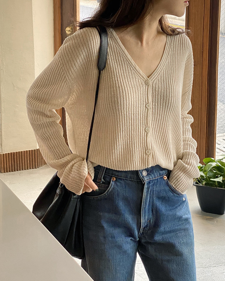 LINEN RIBBED CARDIGAN [2COLORS]